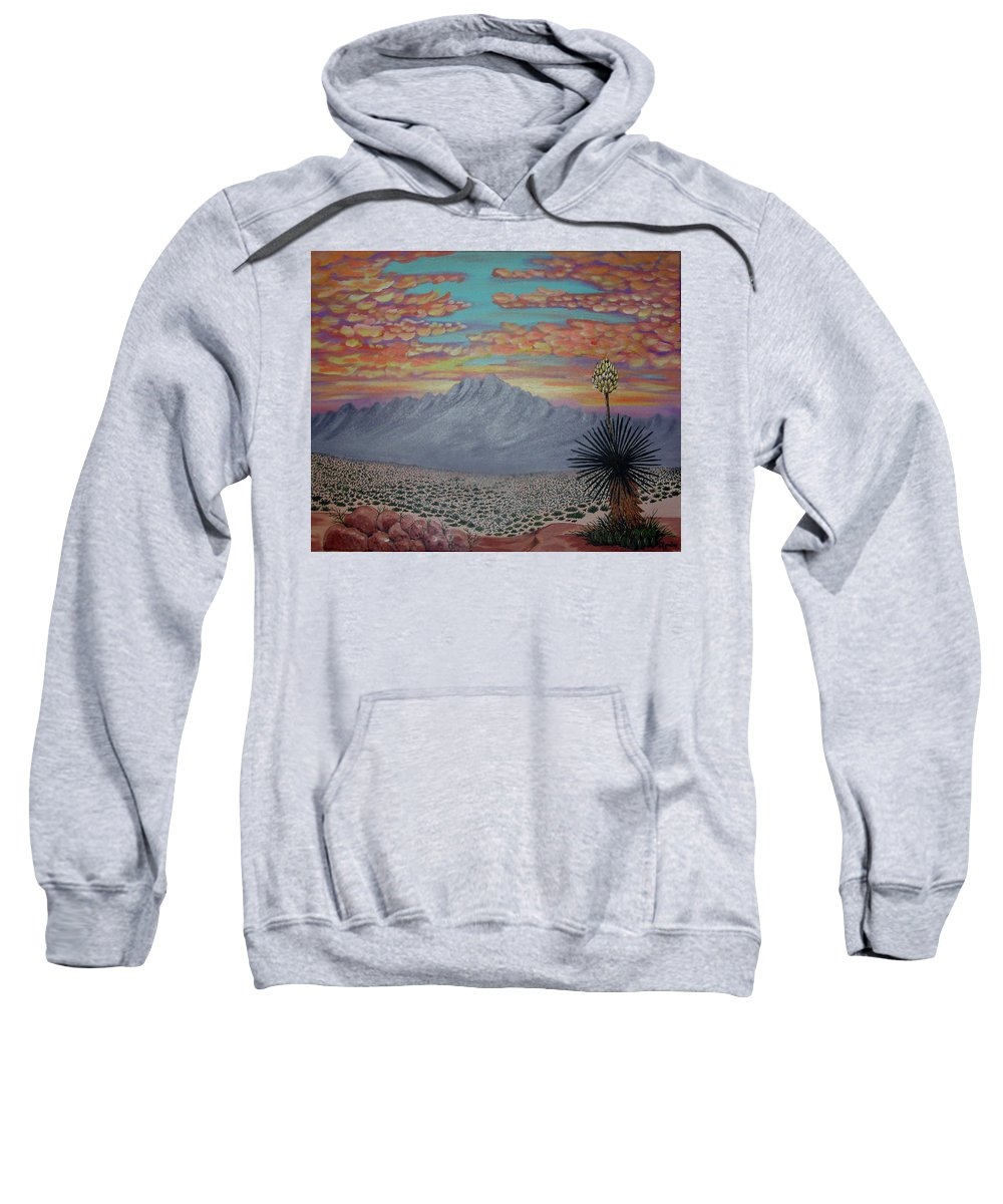 Desertscape Sweatshirt featuring the painting Evening In The Desert by Marco Morales