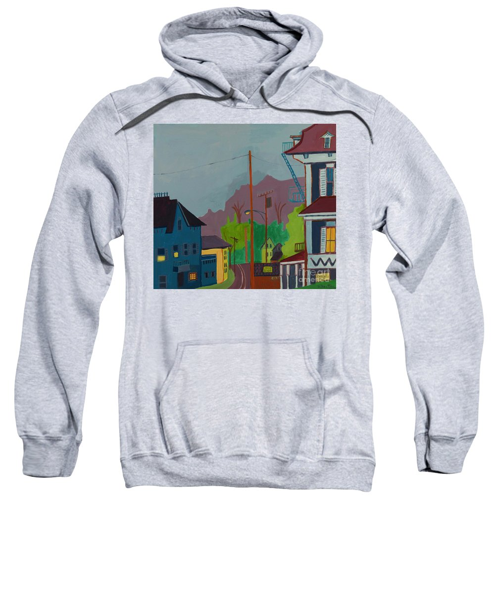 Town Sweatshirt featuring the painting Evening In Town Chelmsford Ma by Debra Bretton Robinson