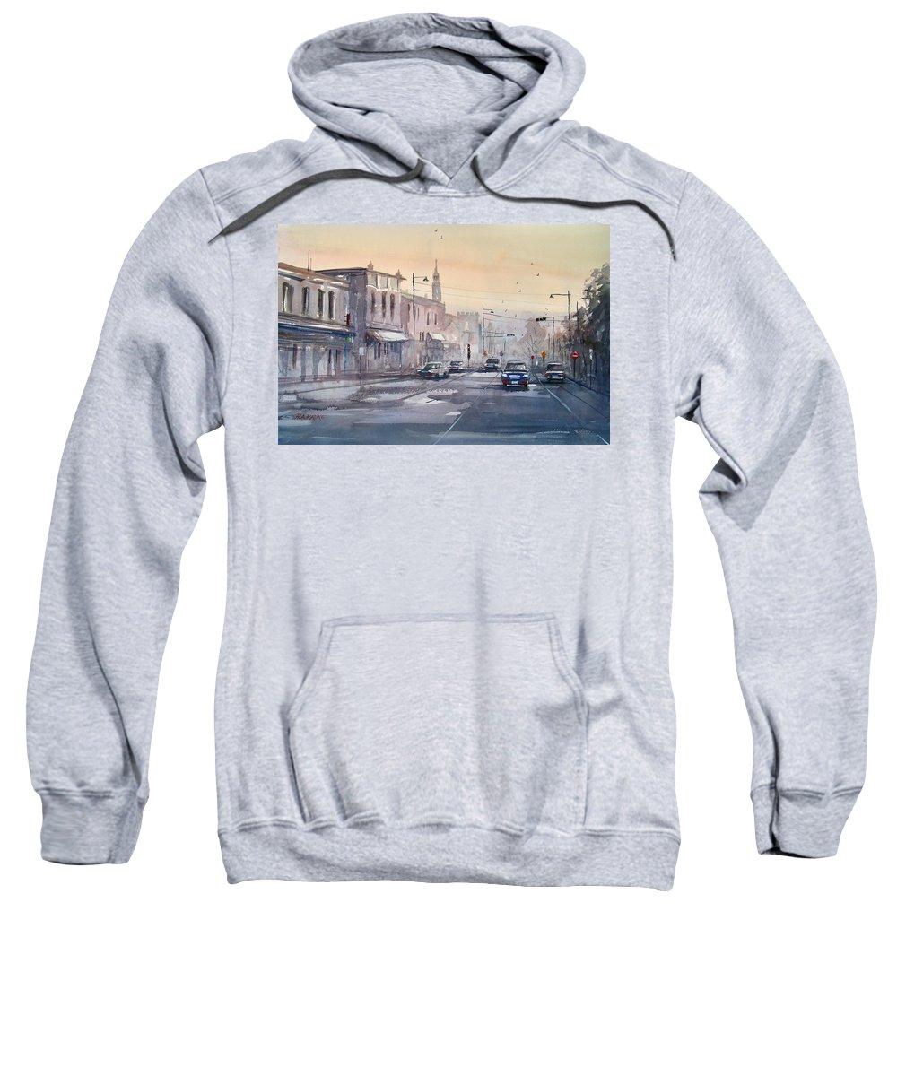 Watercolor Sweatshirt featuring the painting Evening Light In Appleton by Ryan Radke