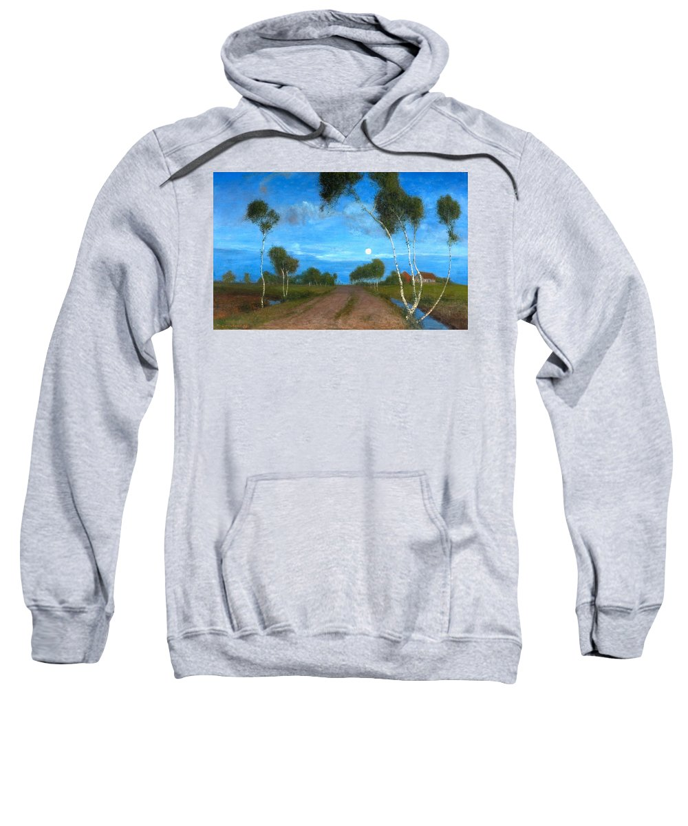Fritz Overbeck Sweatshirt featuring the painting Evening On The Moor by Fritz Overbeck