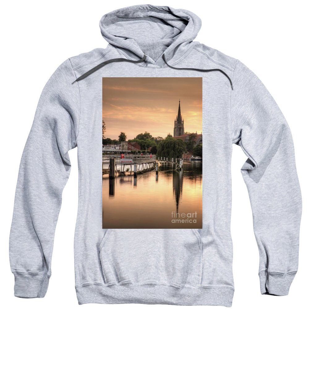 Evening Sets Over All Saints Church And Marlow Weir When Viewed From Marlow Lock. Sweatshirt featuring the photograph Evening Over Marlow by Martin Williams
