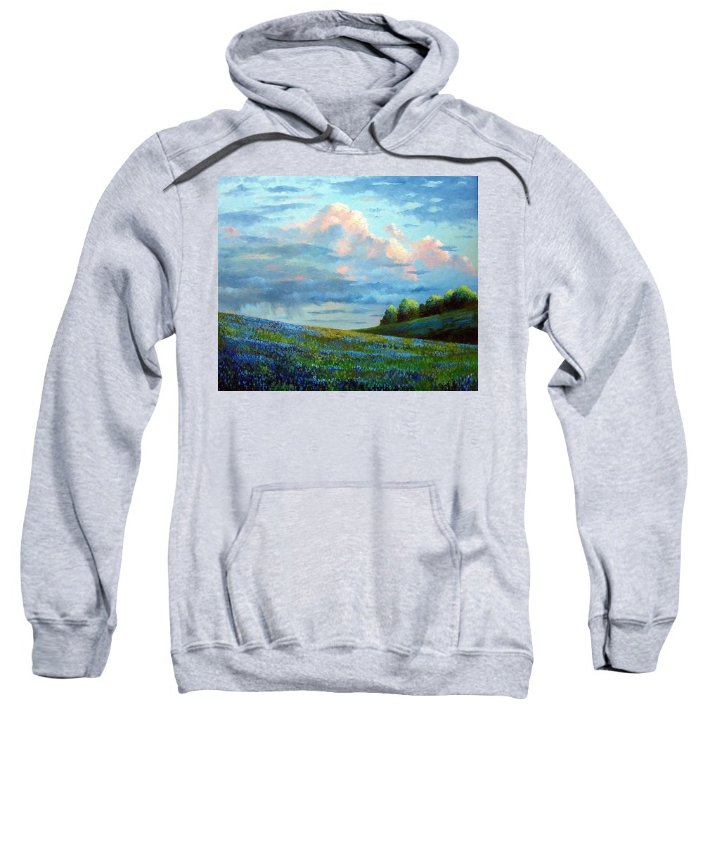 Landscape Sweatshirt featuring the painting Evening Rain by David G Paul