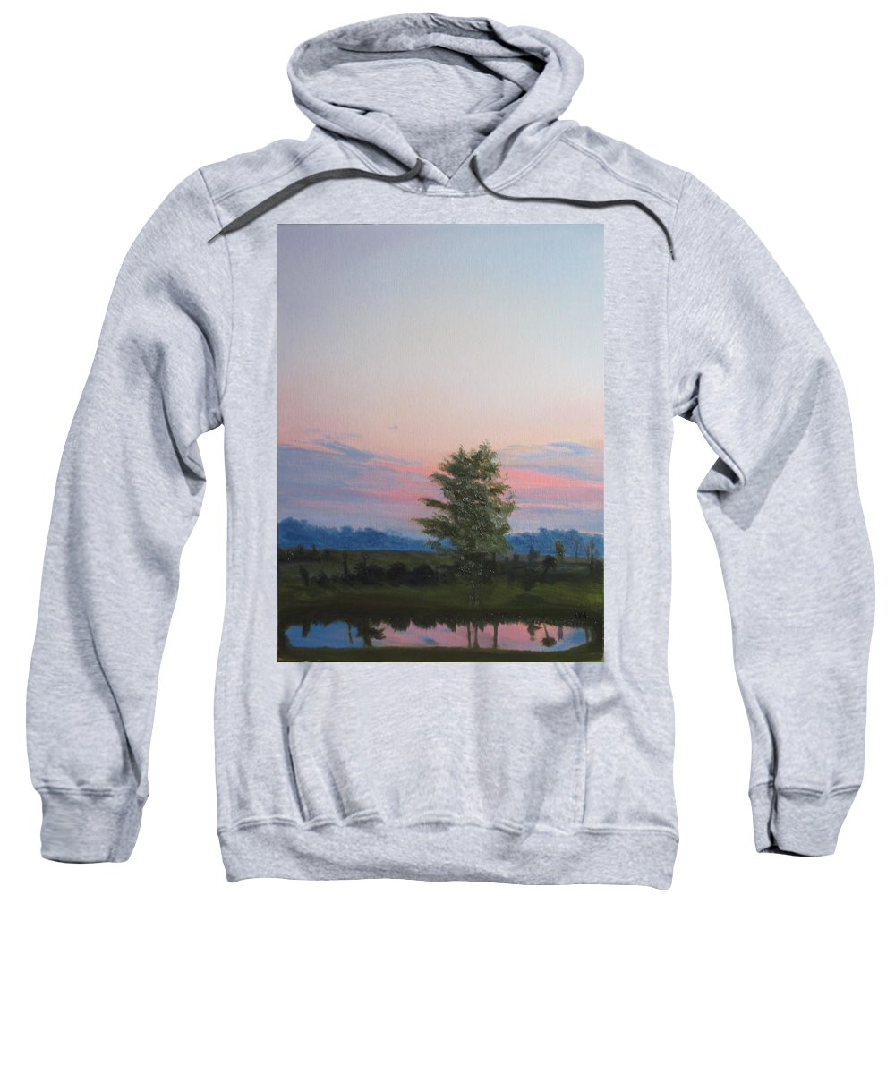 Landscape Sweatshirt featuring the painting Evening Sky by Lea Novak