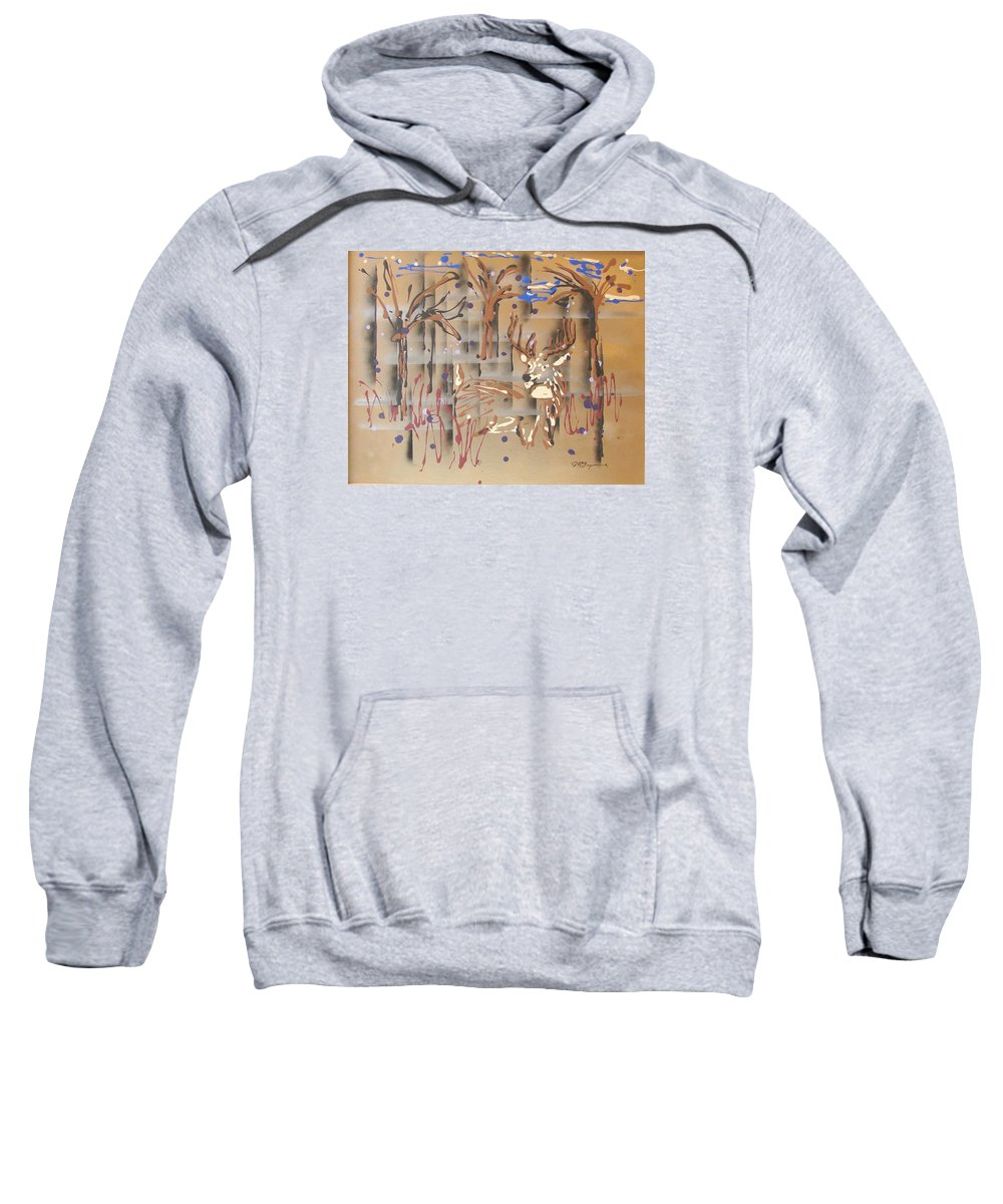 Buck In Tree Line Sweatshirt featuring the painting Everwatchful by J R Seymour