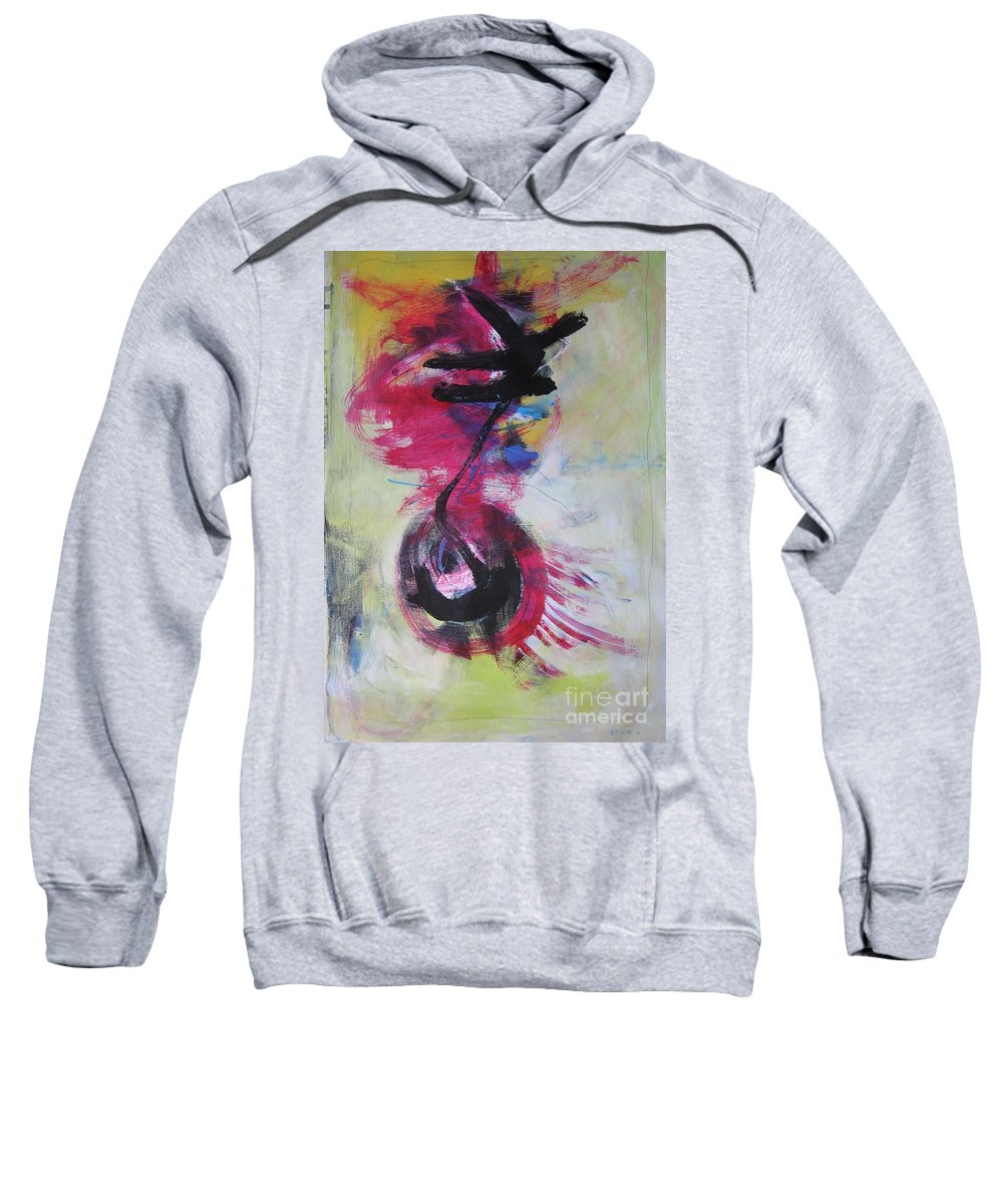 Abstract Paintings Red Paintings Sweatshirt featuring the painting Everything A Mistake-abstract Red Painting by Seon-Jeong Kim