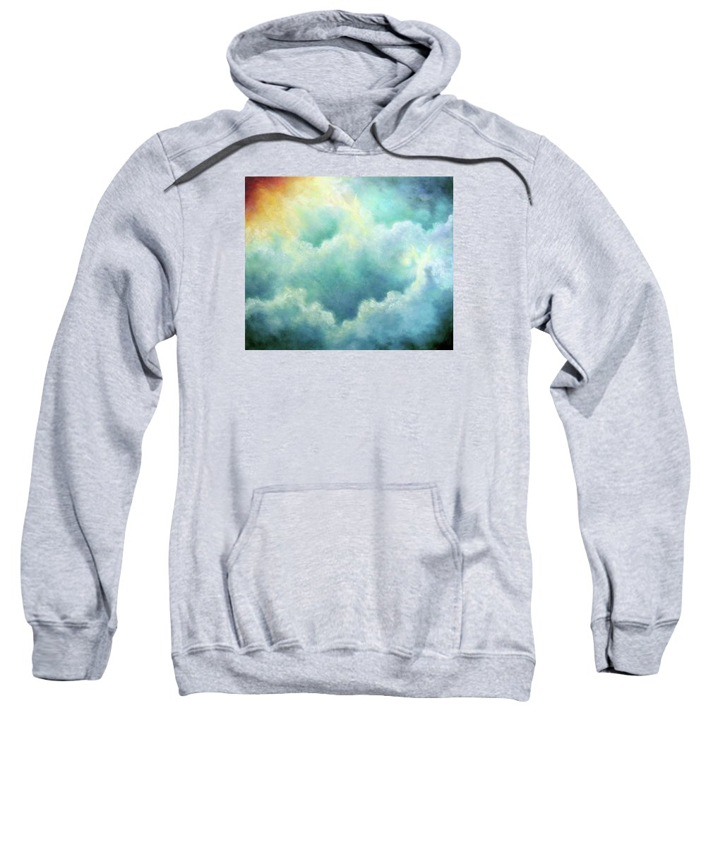 Angel Sweatshirt featuring the painting Evidence Of Angels by Marina Petro