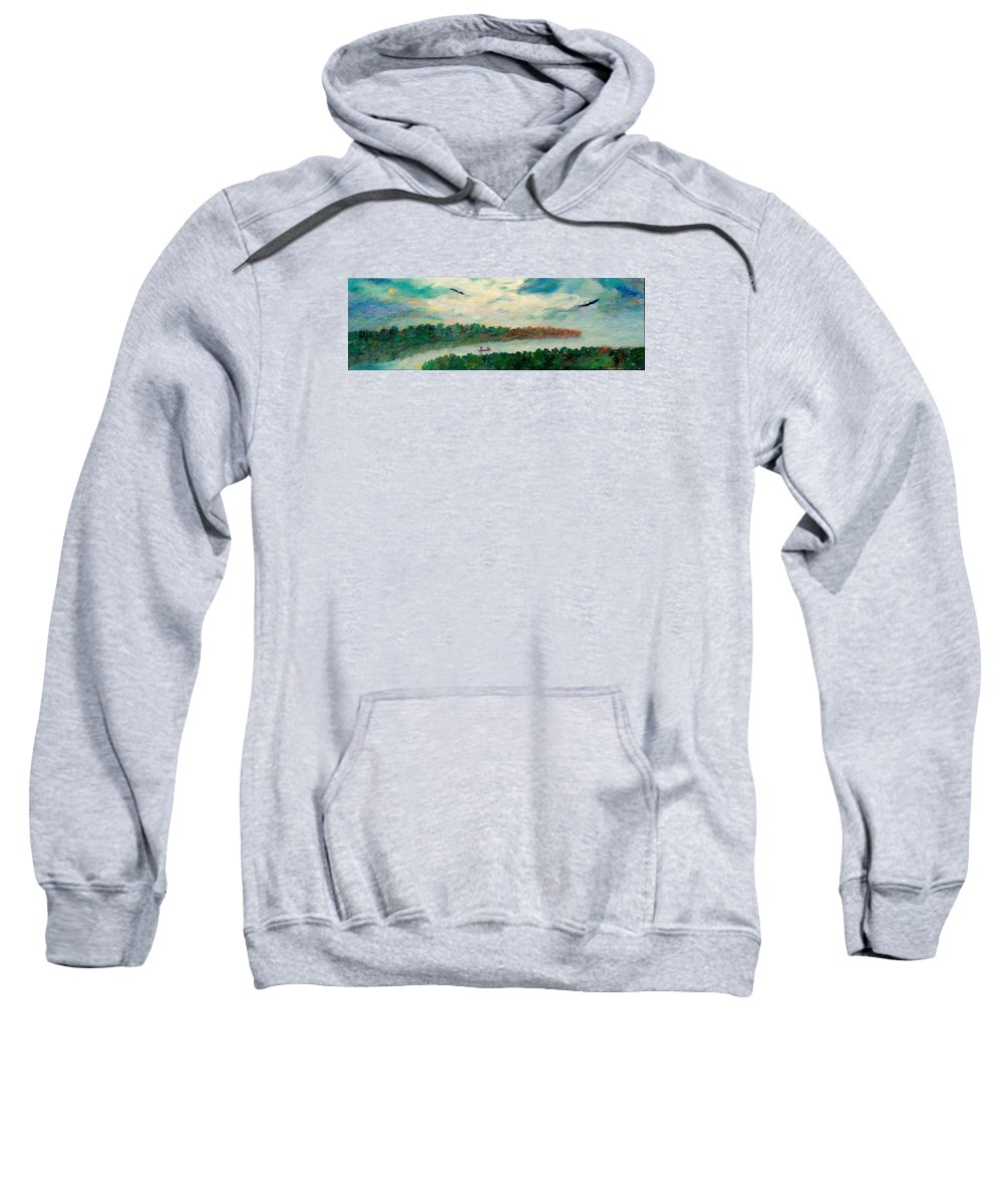 Canoeing On The Big Canadian Lakes Sweatshirt featuring the painting Exploring Our Lake by Naomi Gerrard