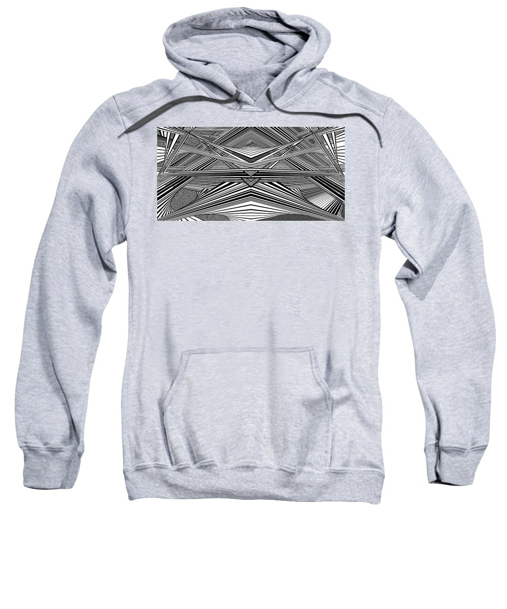 Dynamic Black And White Sweatshirt featuring the painting Exquisite New Developments by Douglas Christian Larsen