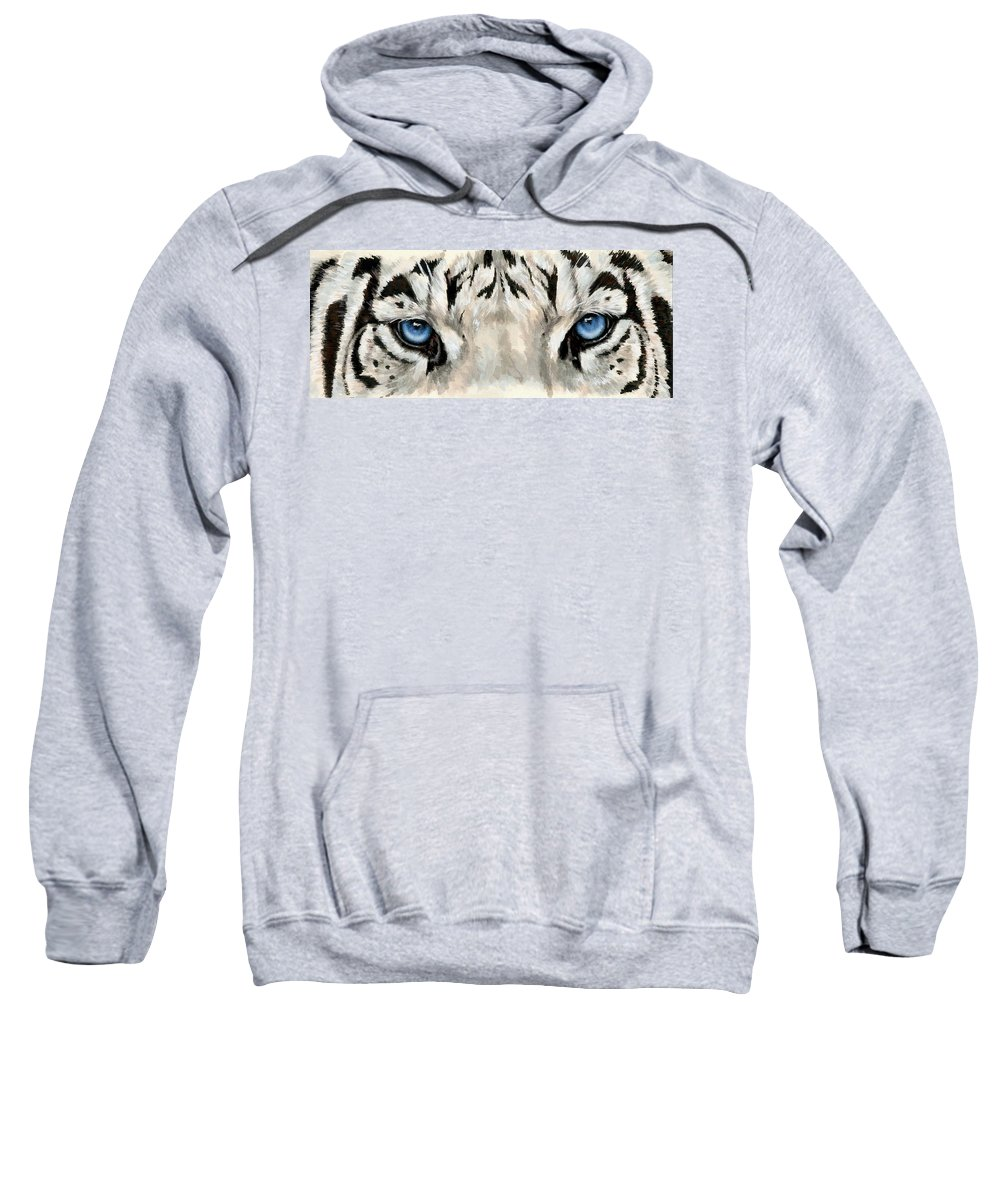 Big Cat Sweatshirt featuring the painting Royal White Tiger Gaze by Barbara Keith