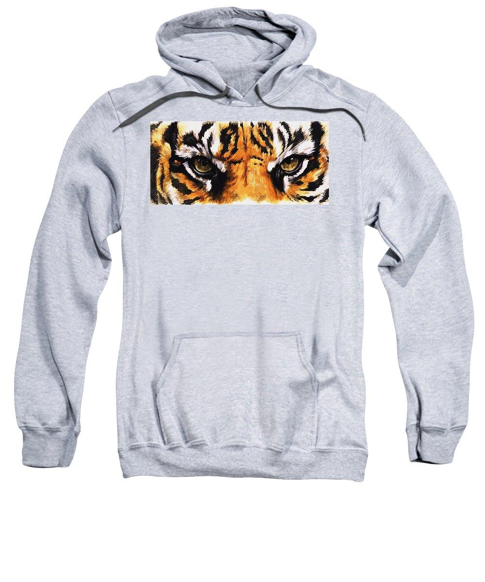 Feline Sweatshirt featuring the mixed media Sumatran Tiger Glare by Barbara Keith