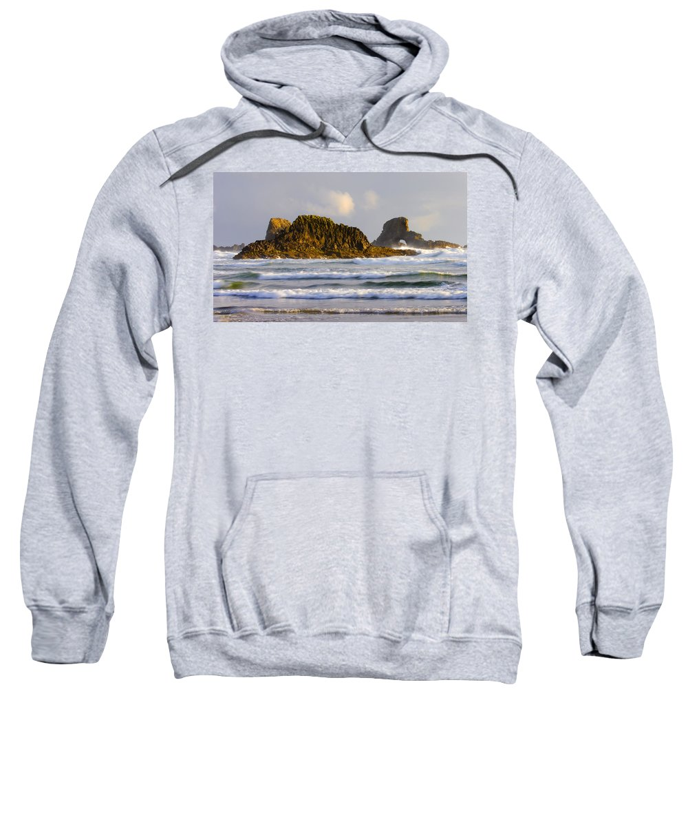 Seastacks Sweatshirt featuring the photograph Eye Of The Storm by Mike Dawson