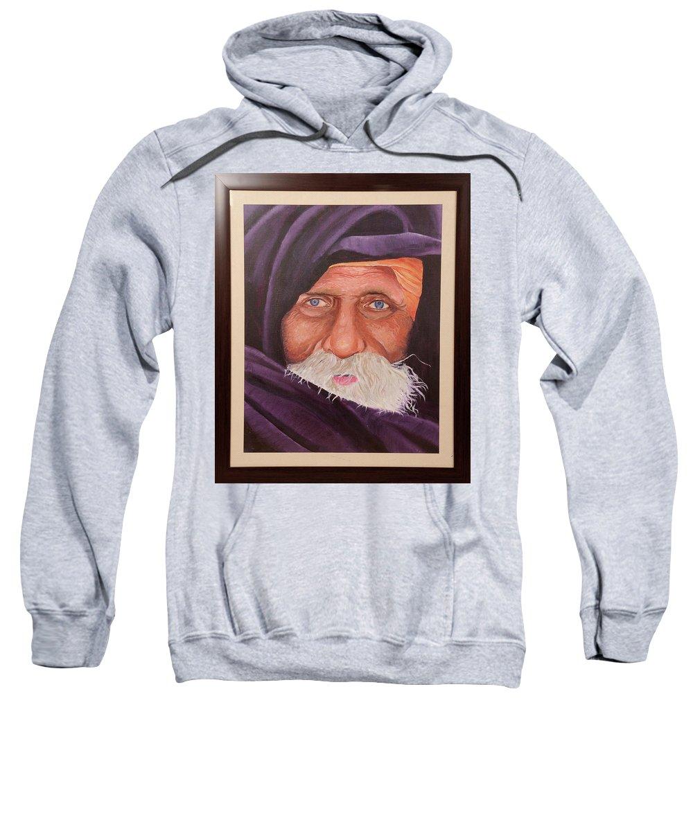 Eyes Of Rajasthan Sweatshirt featuring the painting Eyes Of Rajasthan by Sneha Choudhary