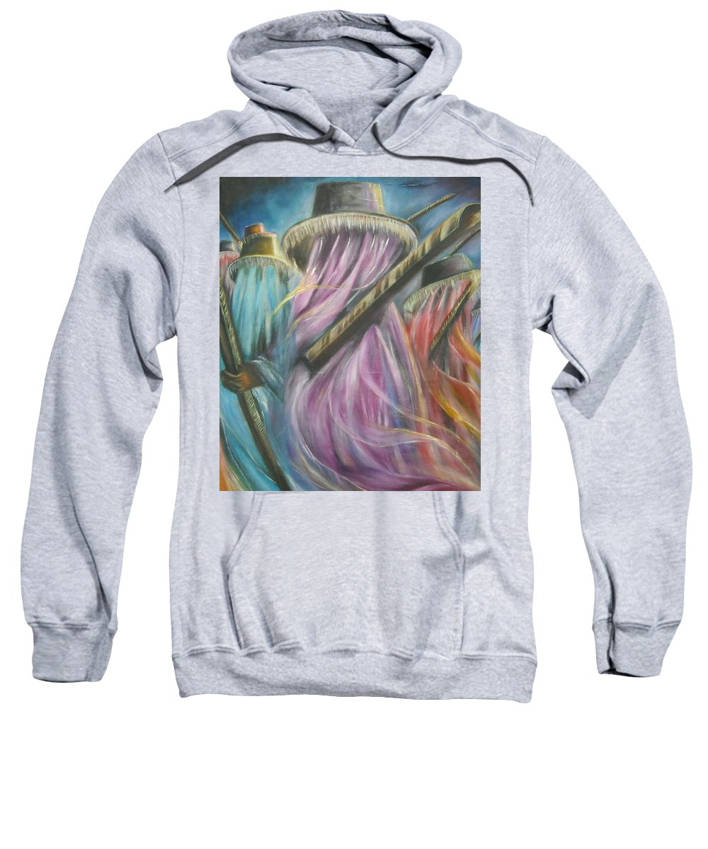 Masquerade Sweatshirt featuring the painting Eyo Masquerade Colorful by Olaoluwa Smith