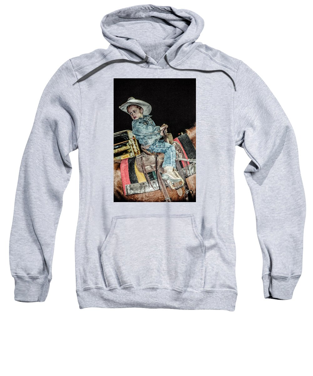 Orange & Blue Rodeo Sweatshirt featuring the photograph F by Terry Brown