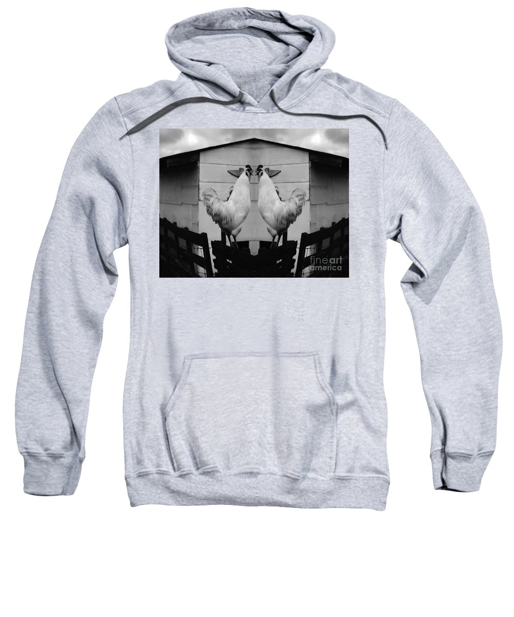 Rooster Sweatshirt featuring the photograph Face Off by Peter Piatt