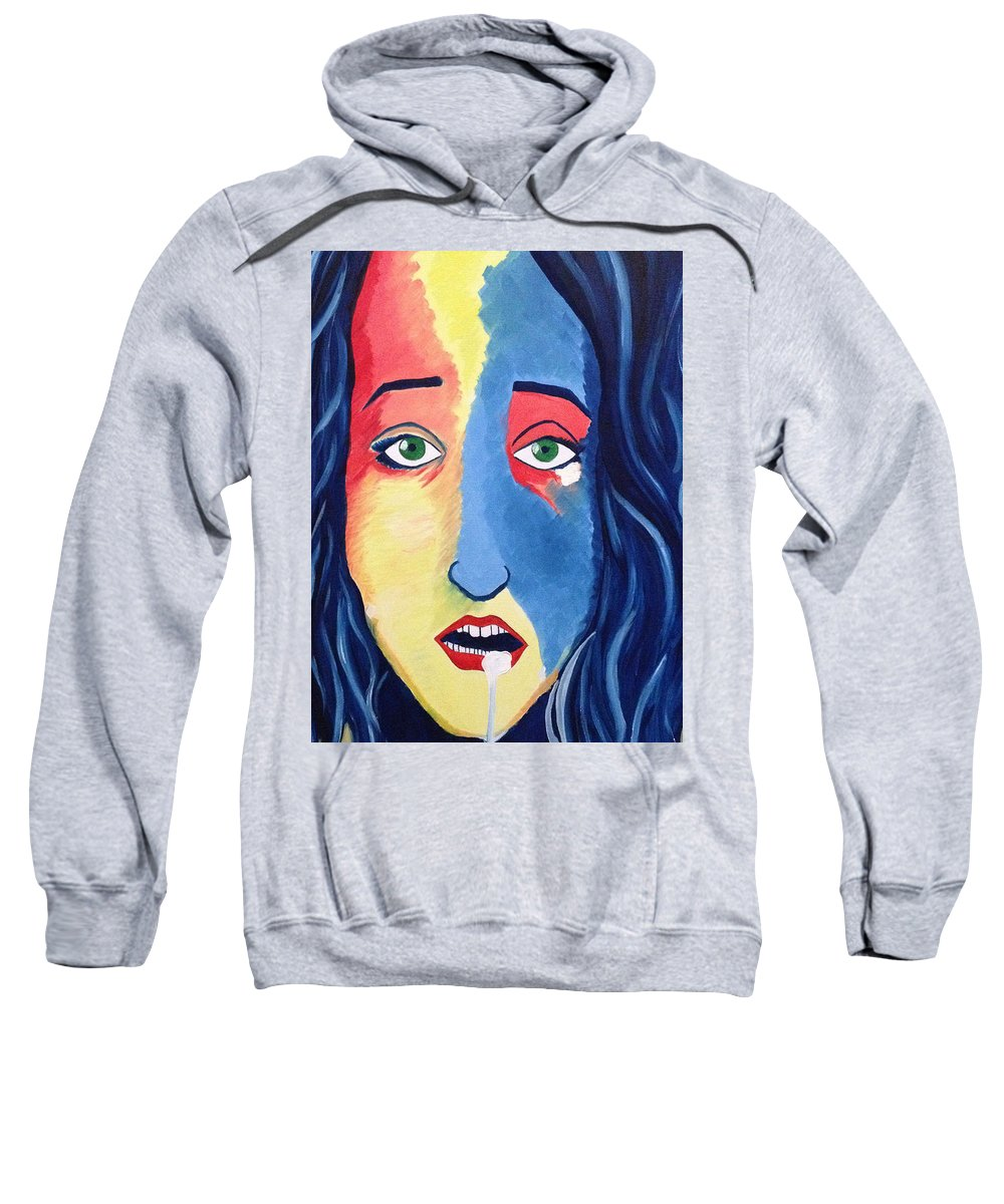 Facial Portrait Woman Modern Green Eyes Mouth Opened Sweatshirt featuring the painting Facial Or Woman With Green Eyes by Costin Tudor