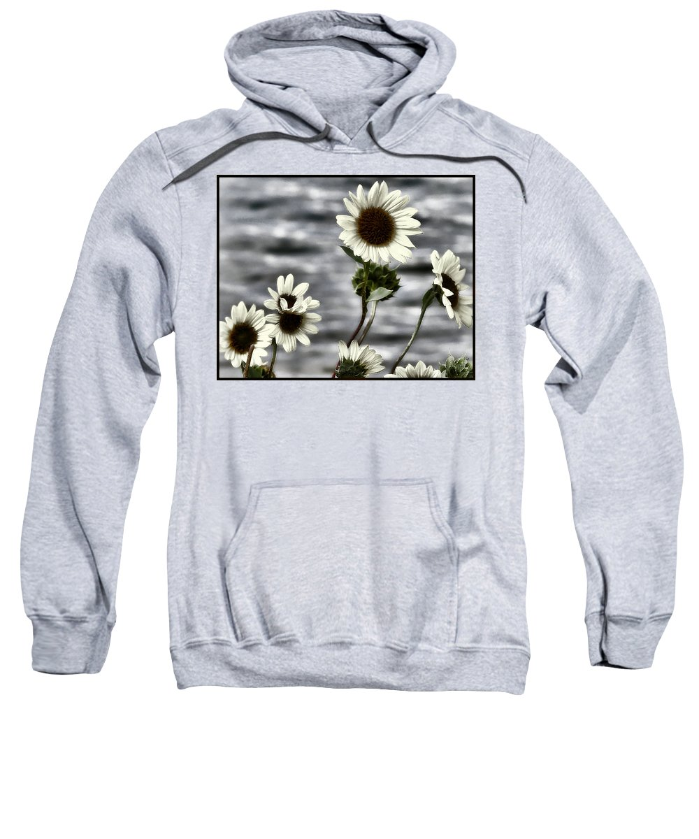 Enhanced Photography Sweatshirt featuring the photograph Fading Sunflowers by Susan Kinney