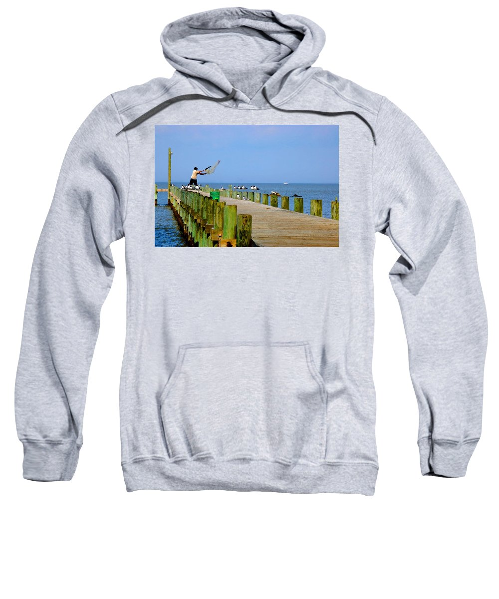Fairhope Sweatshirt featuring the painting Fairhope Fisherman With Cast Net by Michael Thomas