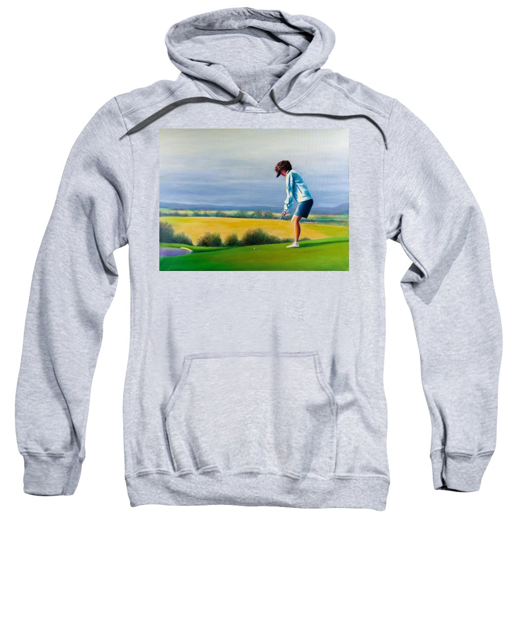 Golfer Sweatshirt featuring the painting Fairy Golf Mother by Shannon Grissom