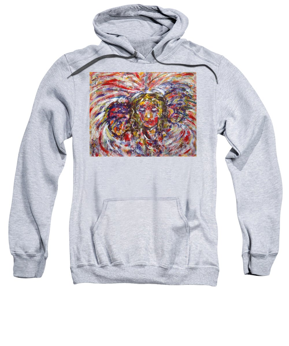 Woman Sweatshirt featuring the painting Faith Hope And Love by Natalie Holland