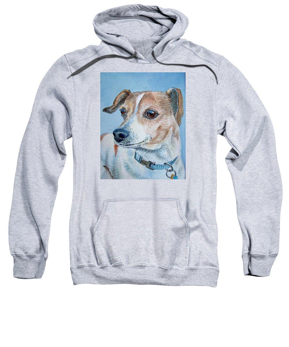 Dog Sweatshirt featuring the painting Beloved Dog Commission By Irina Sztukowski by Irina Sztukowski