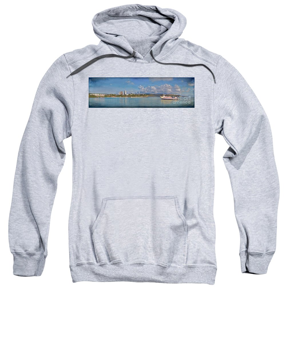 Fajardo Sweatshirt featuring the photograph Fajardo Ferry Service To Culebra And Vieques Panorama by David Zanzinger