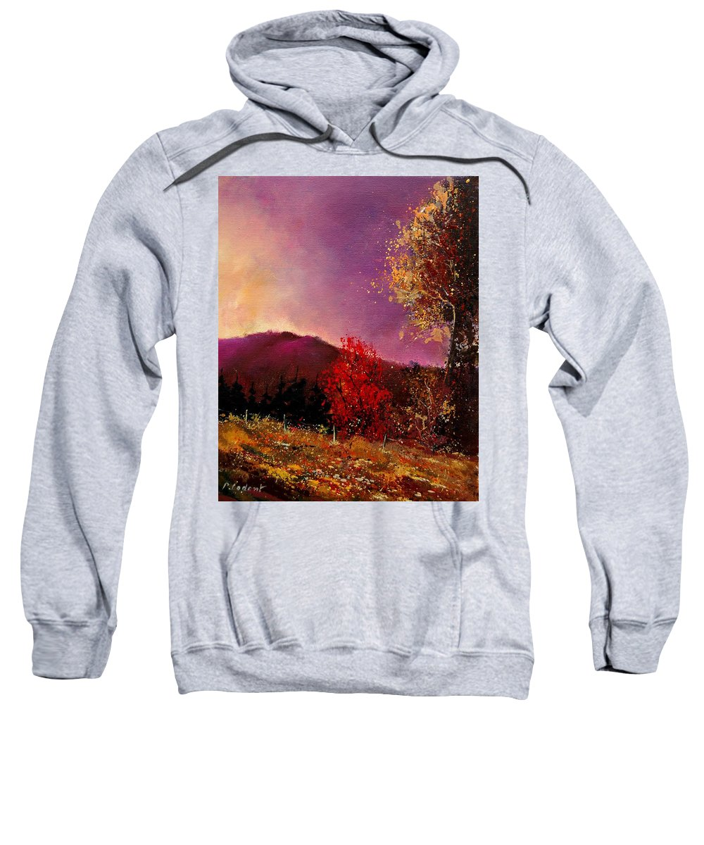 River Sweatshirt featuring the painting Fall Colors by Pol Ledent