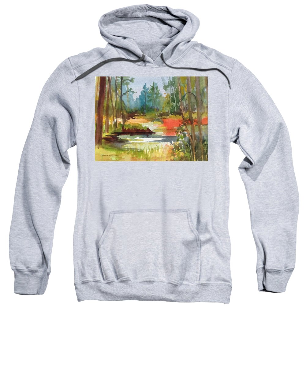 Painted On Location Plein Air. This Bright And Strong Painting Was Recently In An Art Show In Jericho Sweatshirt featuring the painting Fall Foliage In Vermont by Maurie Harrington