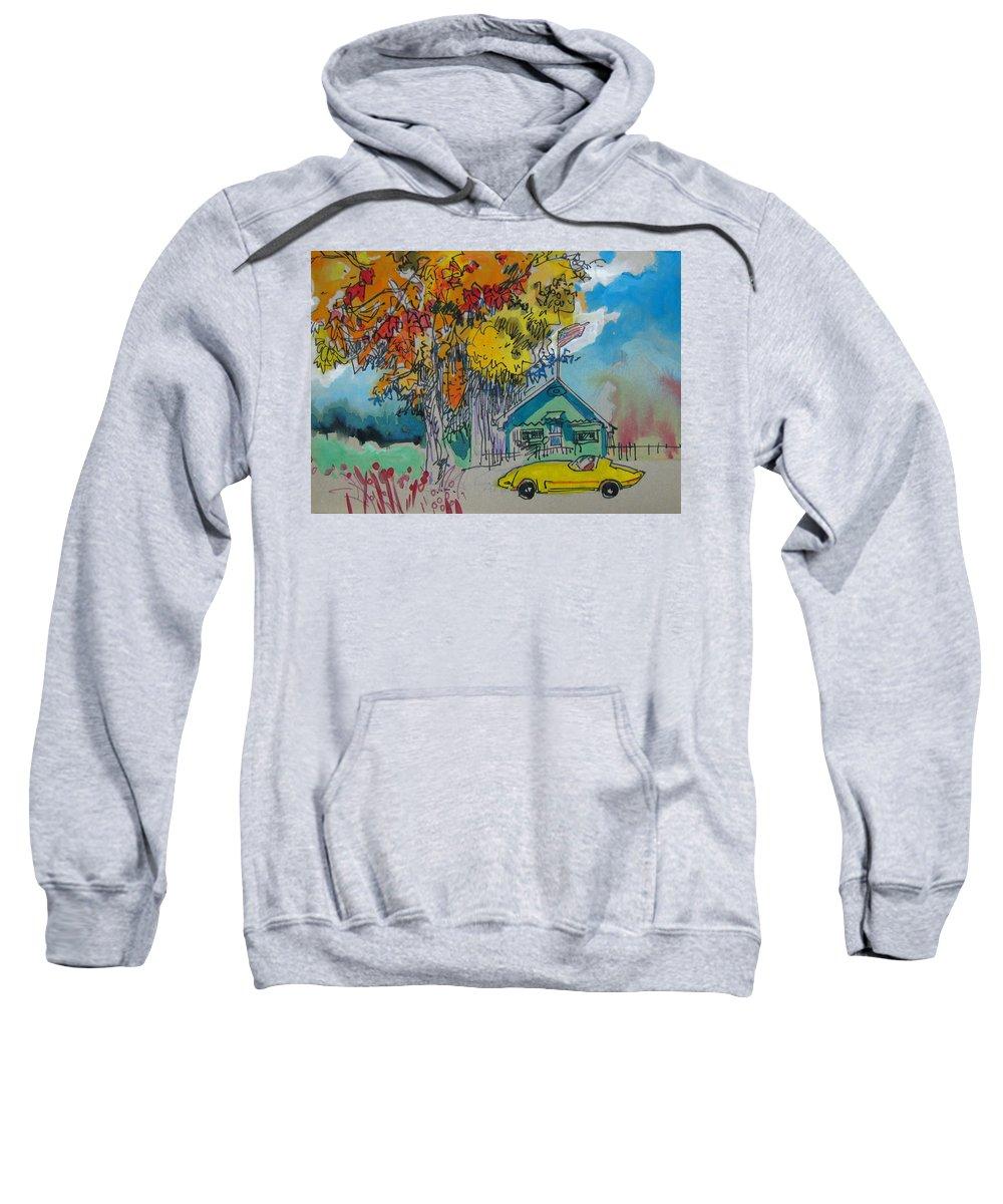 Fall Sweatshirt featuring the drawing Fall by Guanyu Shi