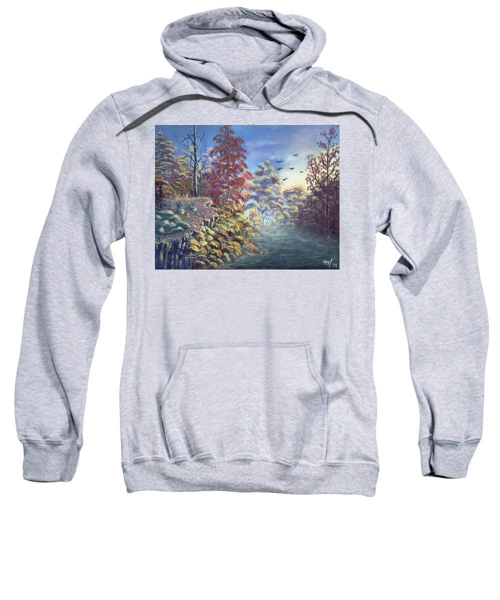 Landscape Sweatshirt featuring the painting Fall Morning by Martha Sanchez-Hayre