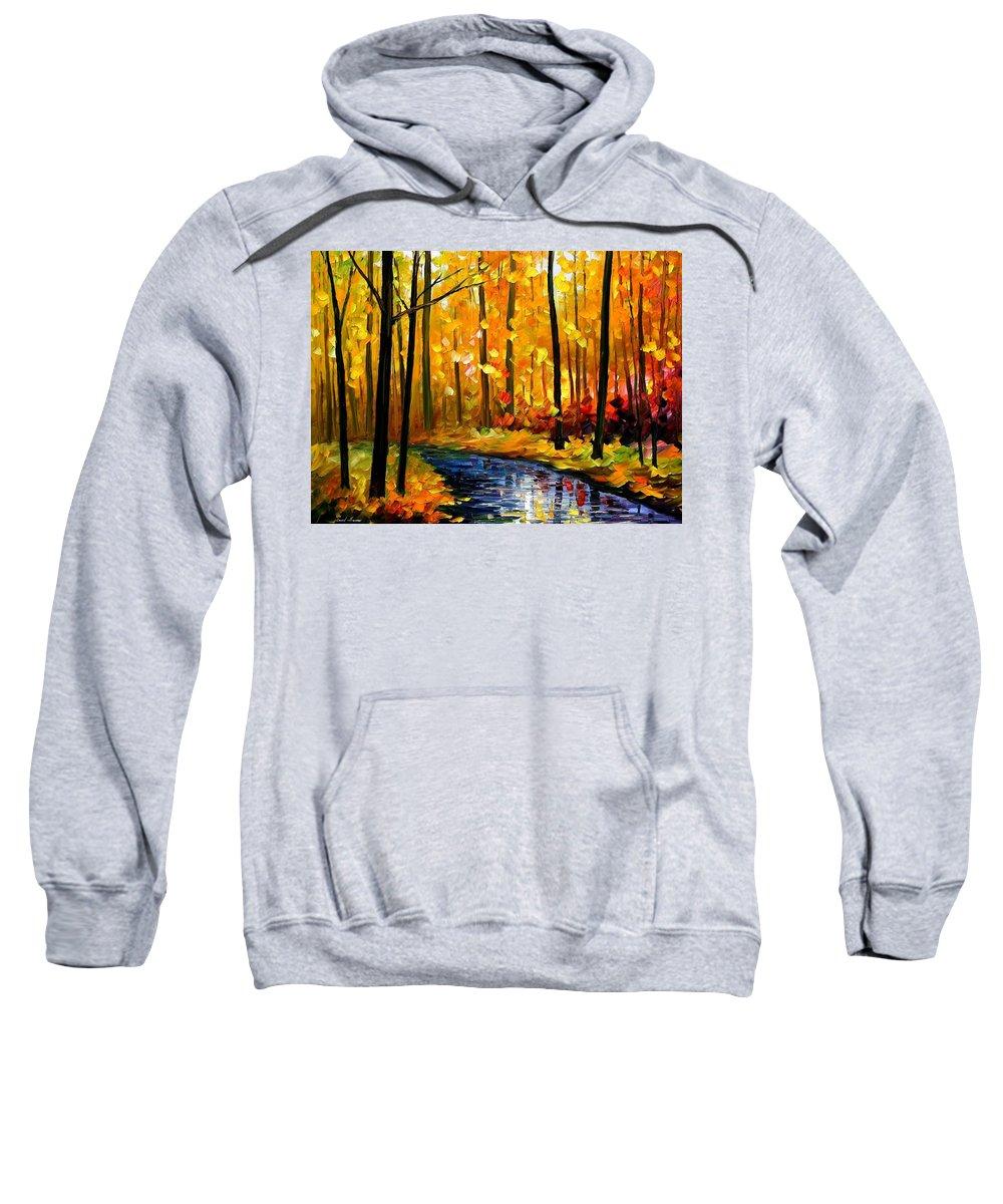 Afremov Sweatshirt featuring the painting Fall Stream by Leonid Afremov