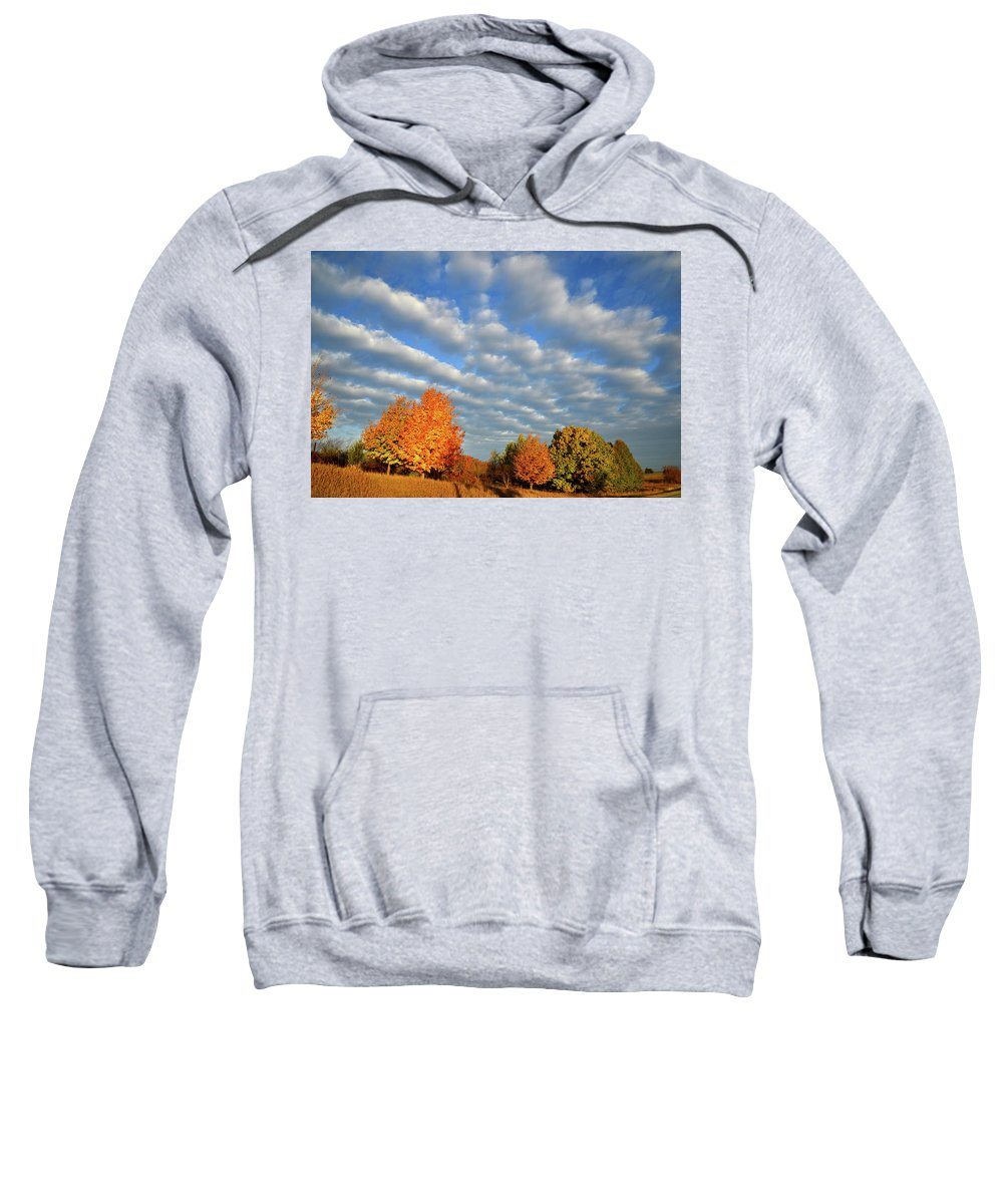 Mchenry County Conservation District Sweatshirt featuring the photograph Fall Sunrise Over Hackmatack Nwr by Ray Mathis