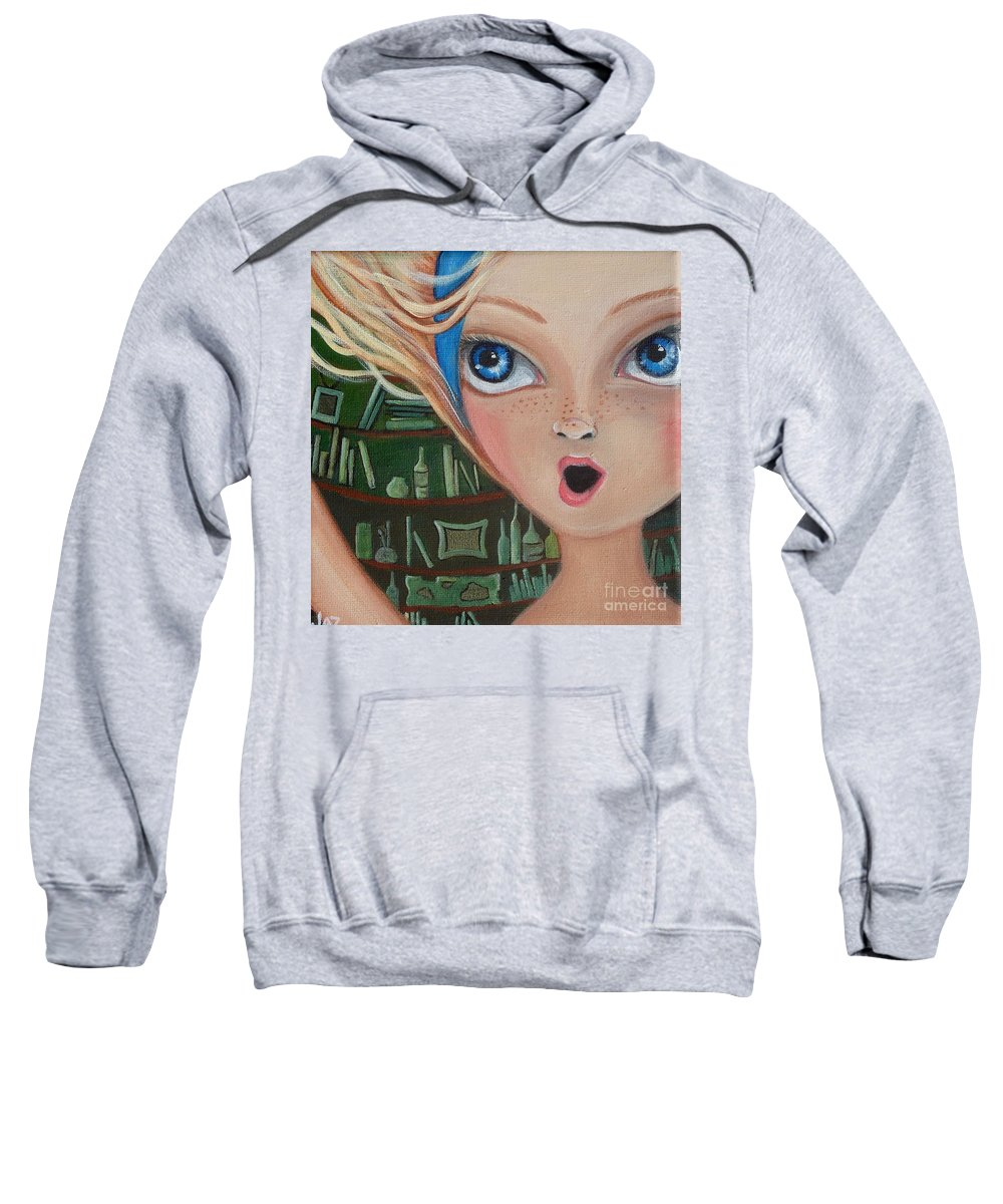 Alice In Wonderland Sweatshirt featuring the painting Falling Down The Rabbit Hole By Jaz by Jaz Higgins