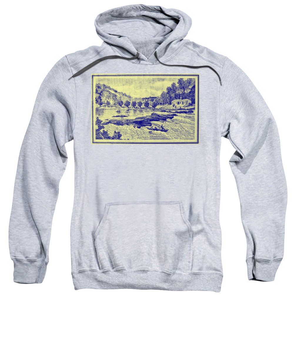 Falls Sweatshirt featuring the photograph Falls Of The Schuylkill And Fort St Davids 1794 by Bill Cannon