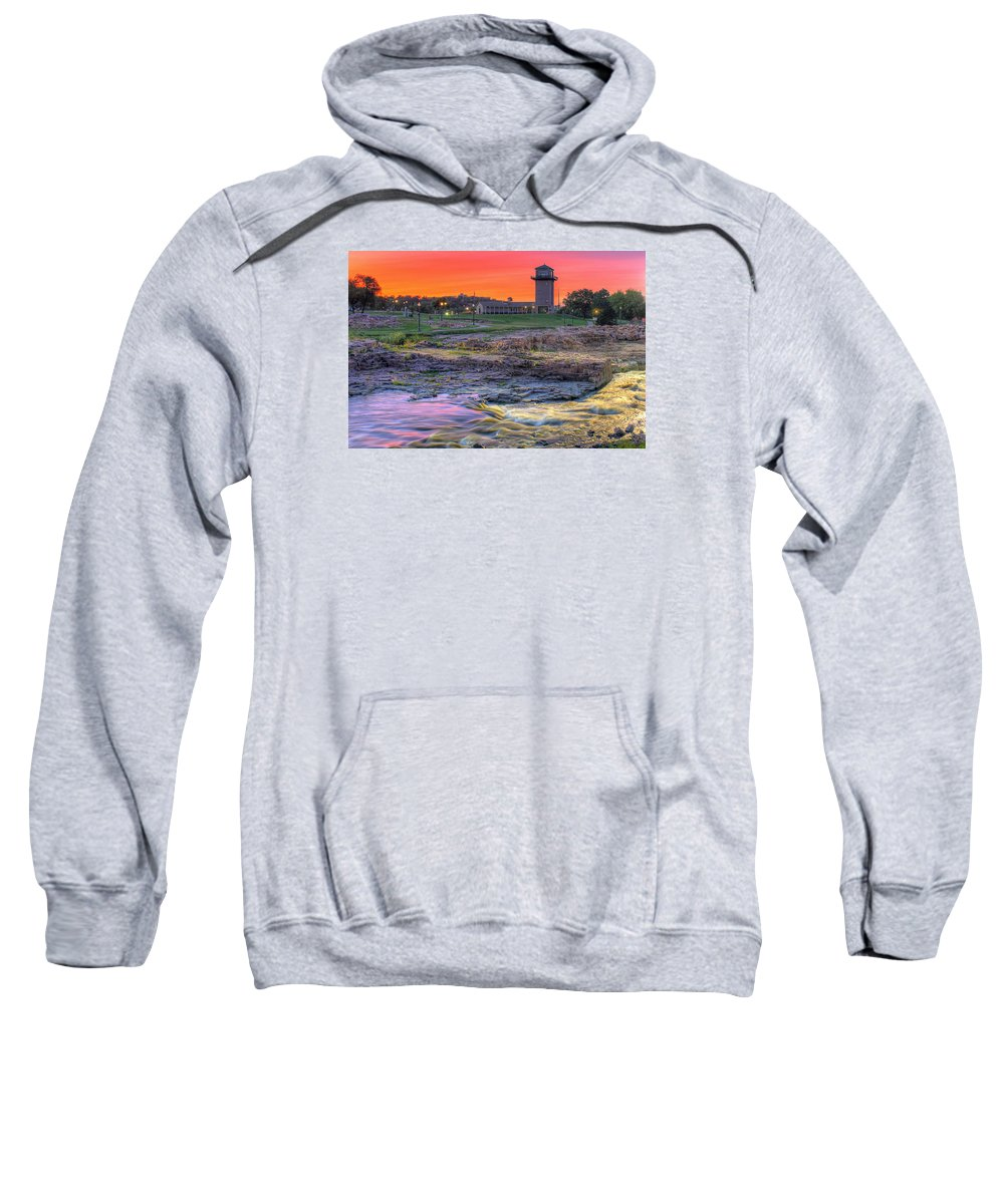 Sioux Falls Sweatshirt featuring the photograph Falls Park Sunset by Frank Thuringer
