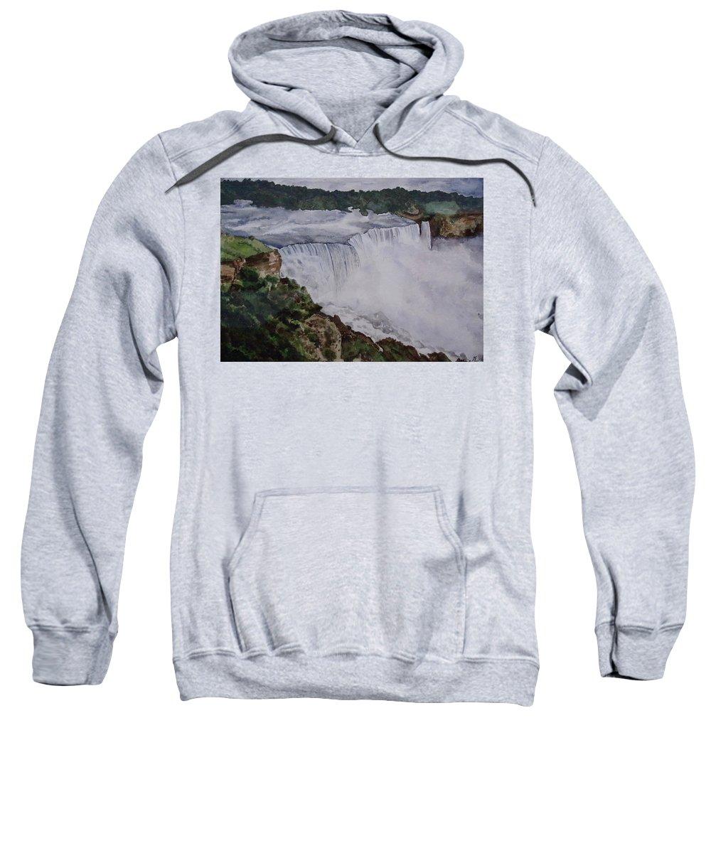 Water Falls Sweatshirt featuring the painting Falls by Tanuja Munakala
