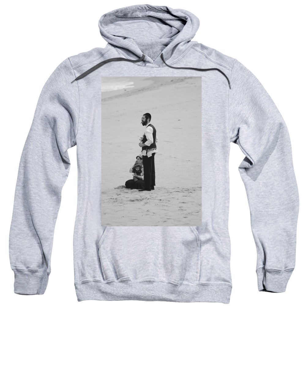 Black And White Sweatshirt featuring the photograph Family Beach Day by Rob Hans