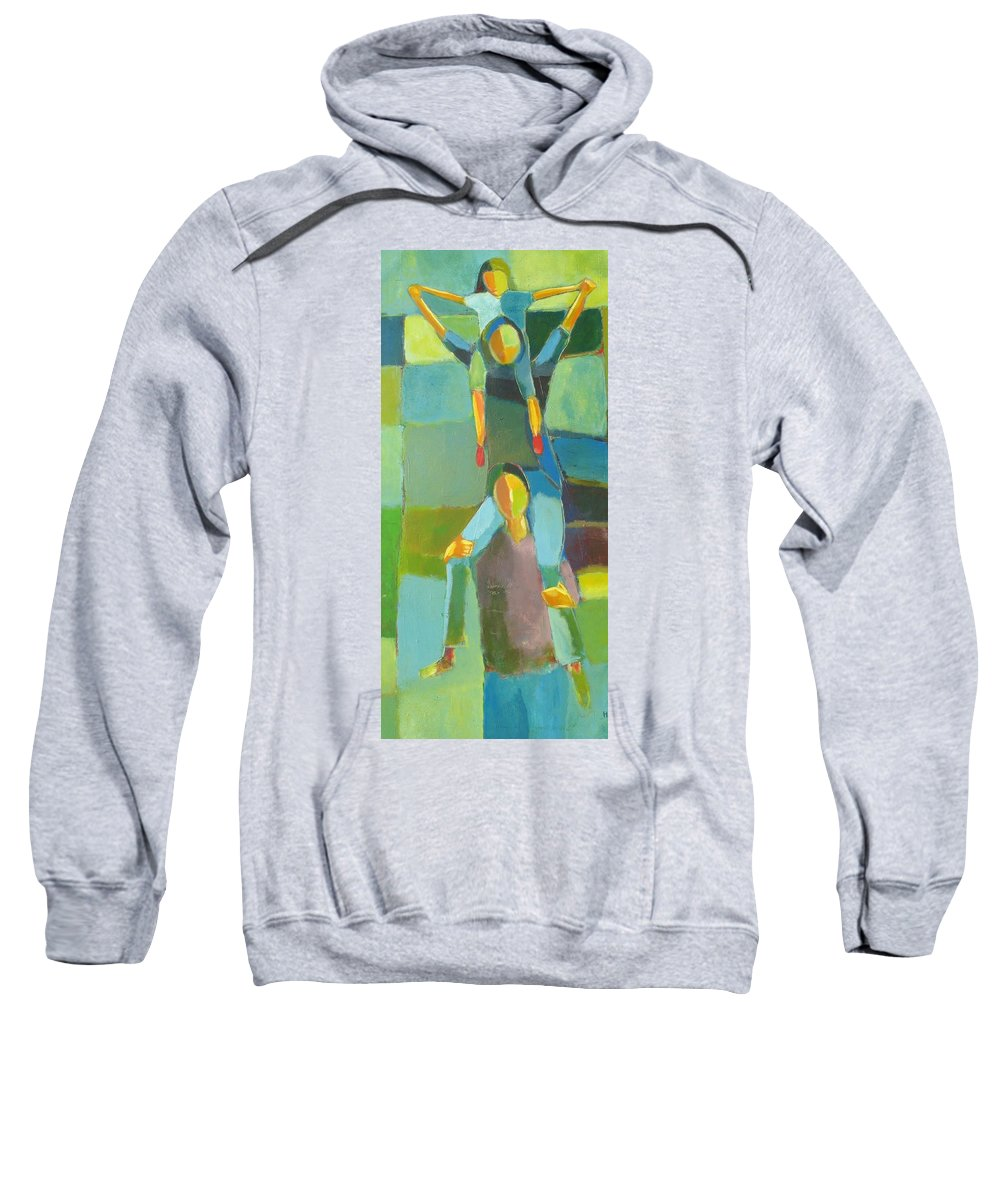 Abstract Sweatshirt featuring the painting Family Joy by Habib Ayat