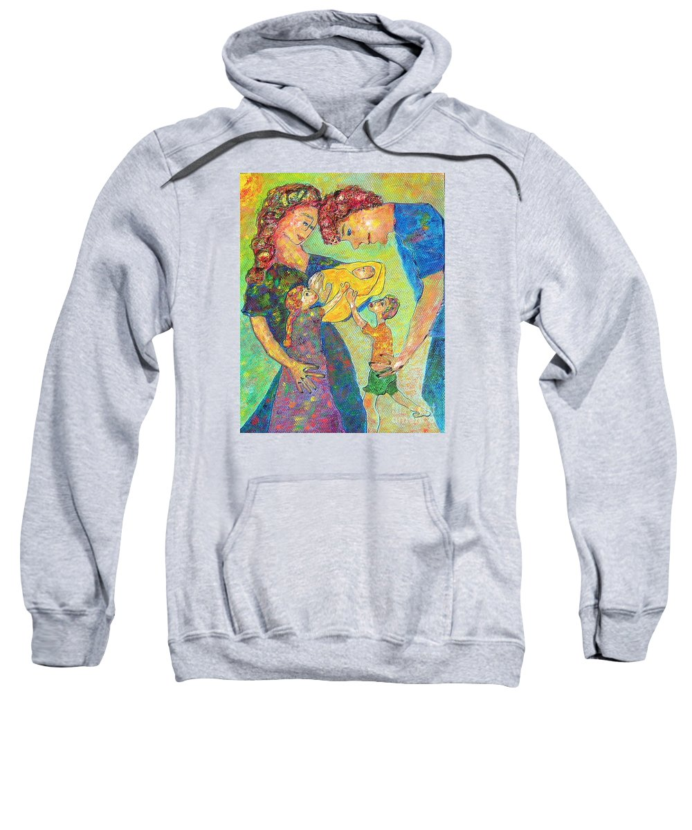 Family Enjoying Each Other Sweatshirt featuring the painting Family Matters by Naomi Gerrard