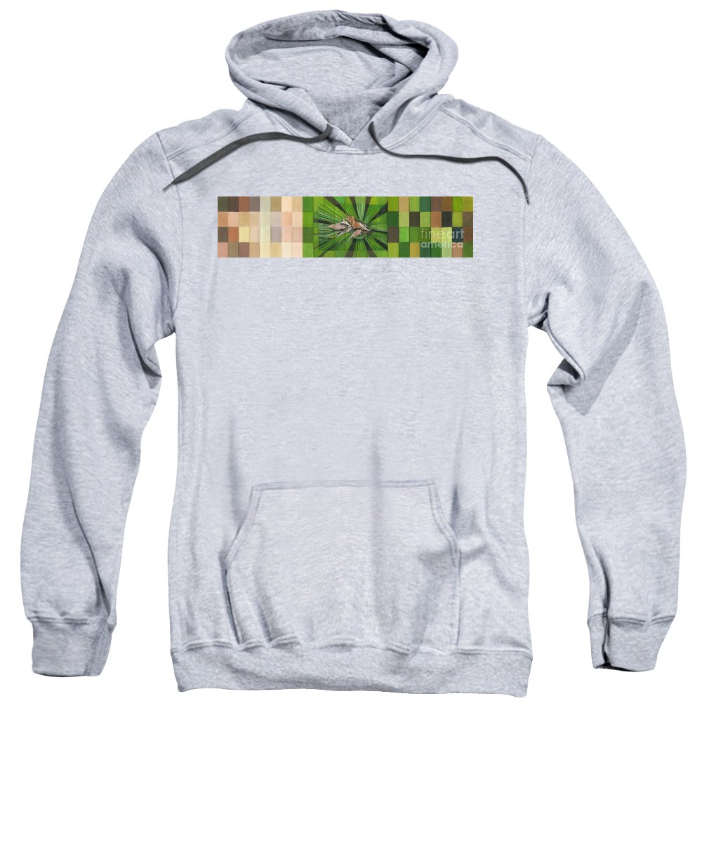 Nature Sweatshirt featuring the painting Fantail Palm Plateau by Kerryn Madsen - Pietsch