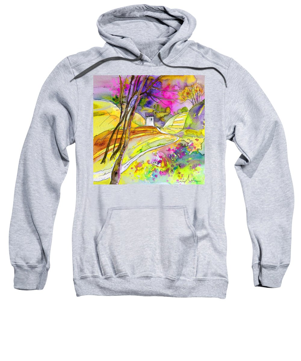 Fantasy Landscape Sweatshirt featuring the painting Fantaquarelle 04 by Miki De Goodaboom