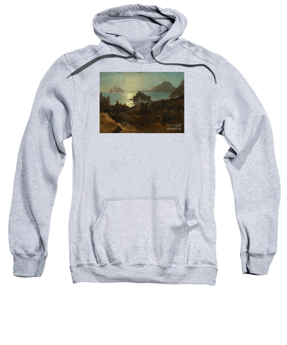 Albert_bierstadt_-_farallon_islands_(1872) Sweatshirt featuring the painting Farallon_islands by Celestial Images