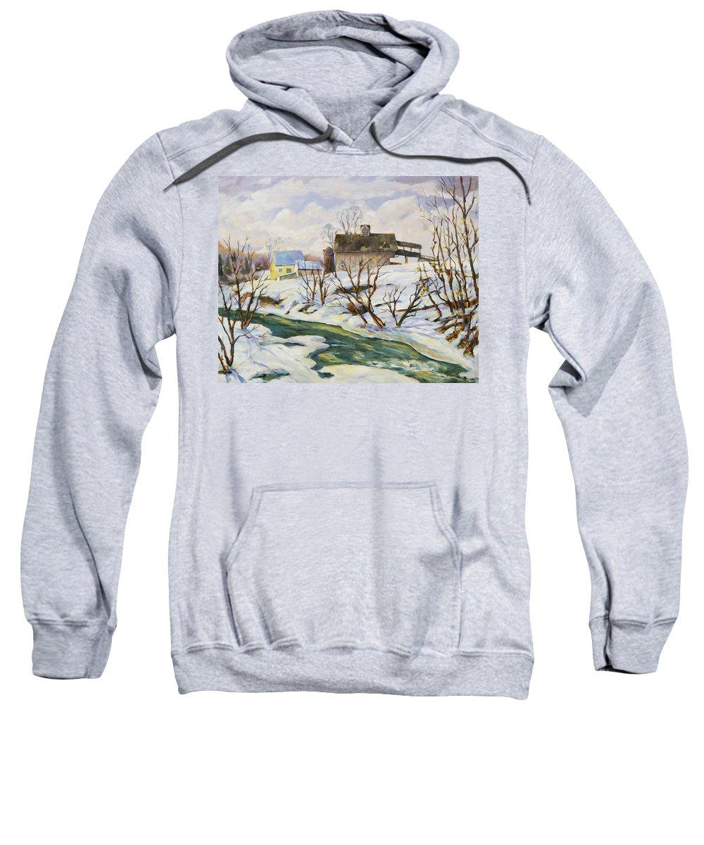 Farm Sweatshirt featuring the painting Farm In Winter by Richard T Pranke