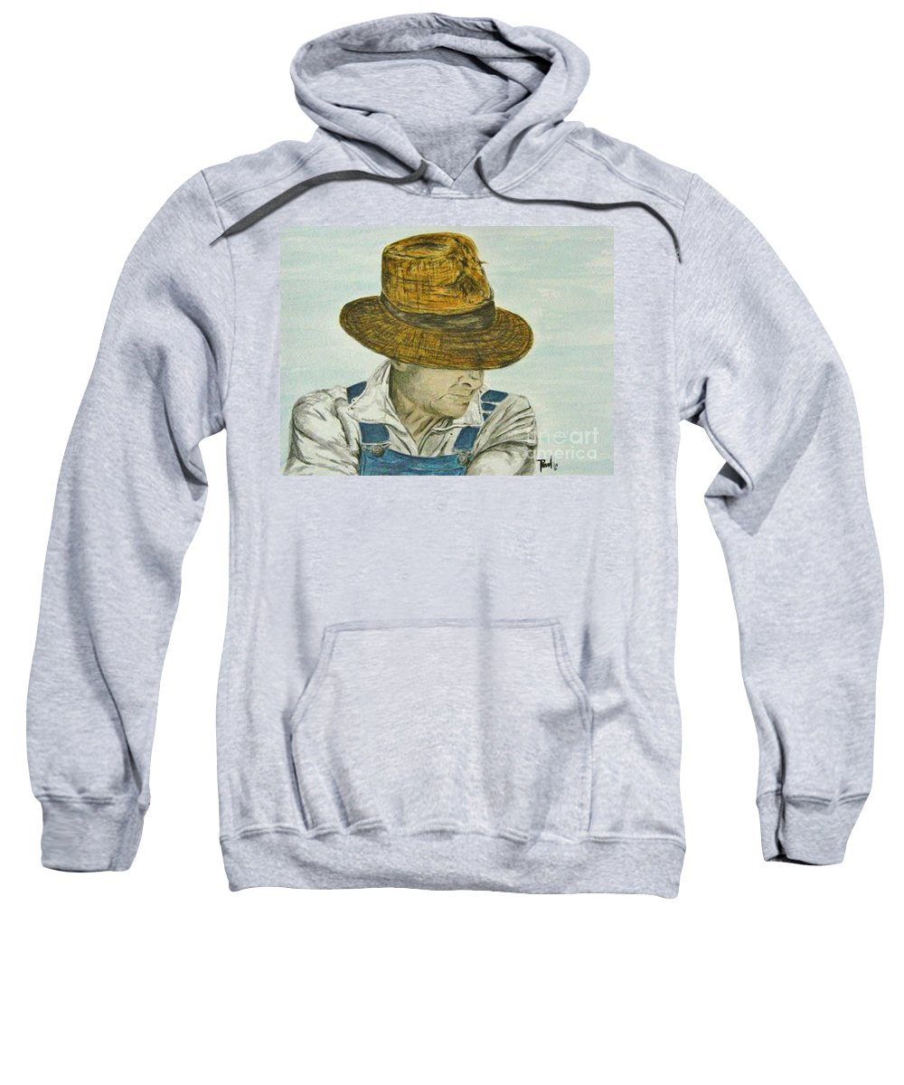 Portrait Sweatshirt featuring the painting Farmer Ted by Regan J Smith