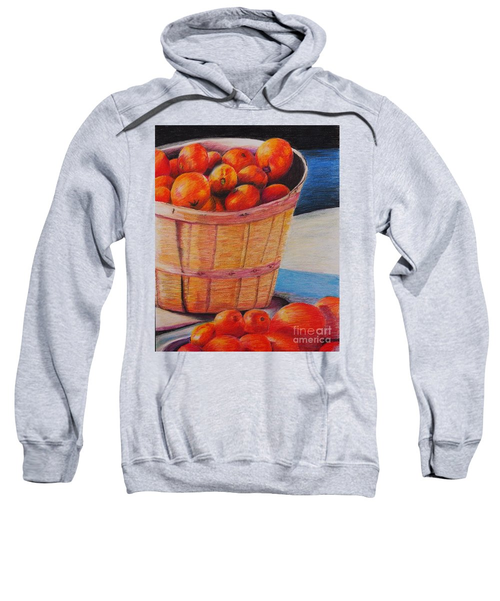 Produce In A Basket Sweatshirt featuring the drawing Farmers Market Produce by Nadine Rippelmeyer