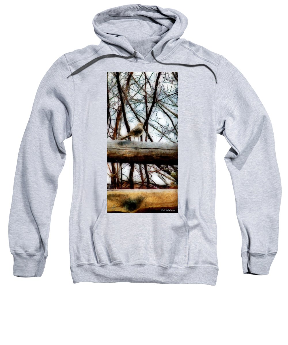 Sparrow Sweatshirt featuring the painting Fat Sparrow Fat Fence by RC DeWinter
