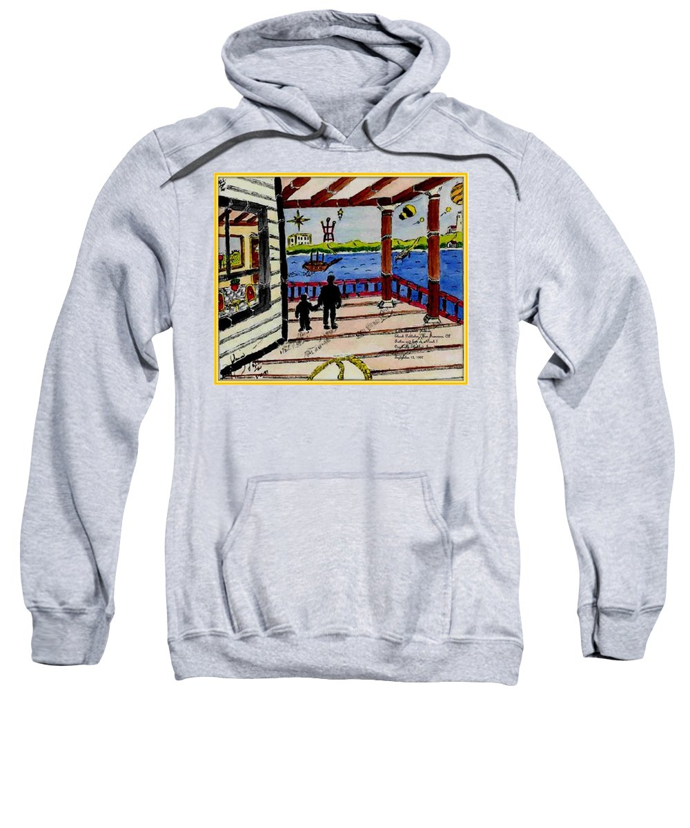 Boy Sweatshirt featuring the painting Father and son on the Porch by Anthony Benjamin