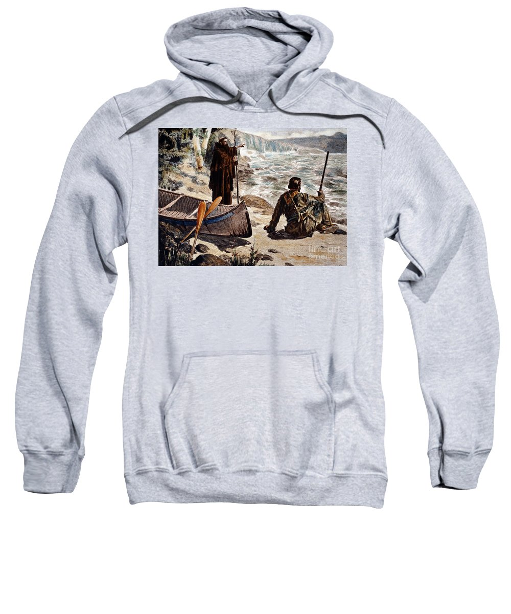 1680 Sweatshirt featuring the painting Father Louis Hennepin by Granger