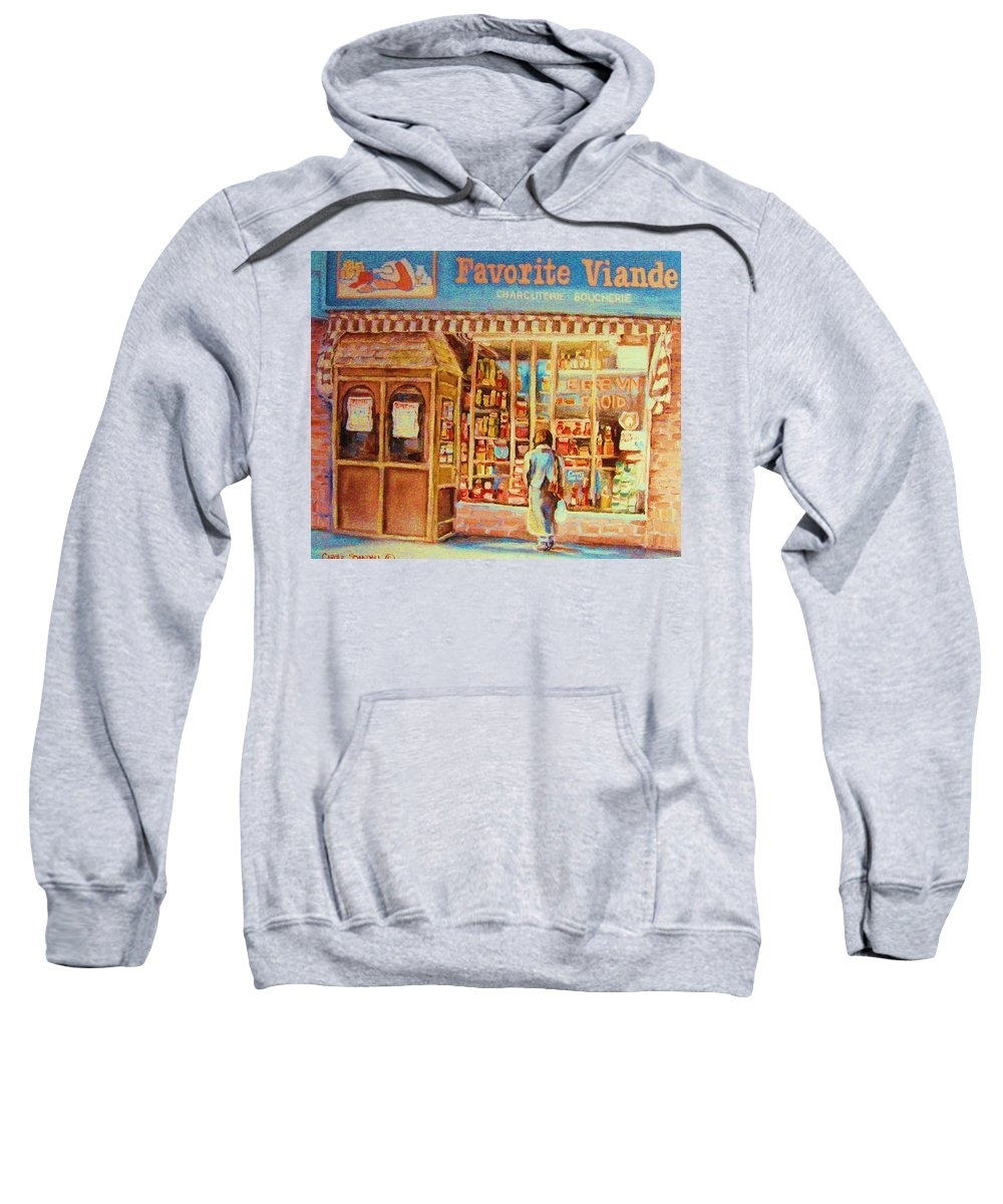 Markets Sweatshirt featuring the painting Favorite Viande Market by Carole Spandau