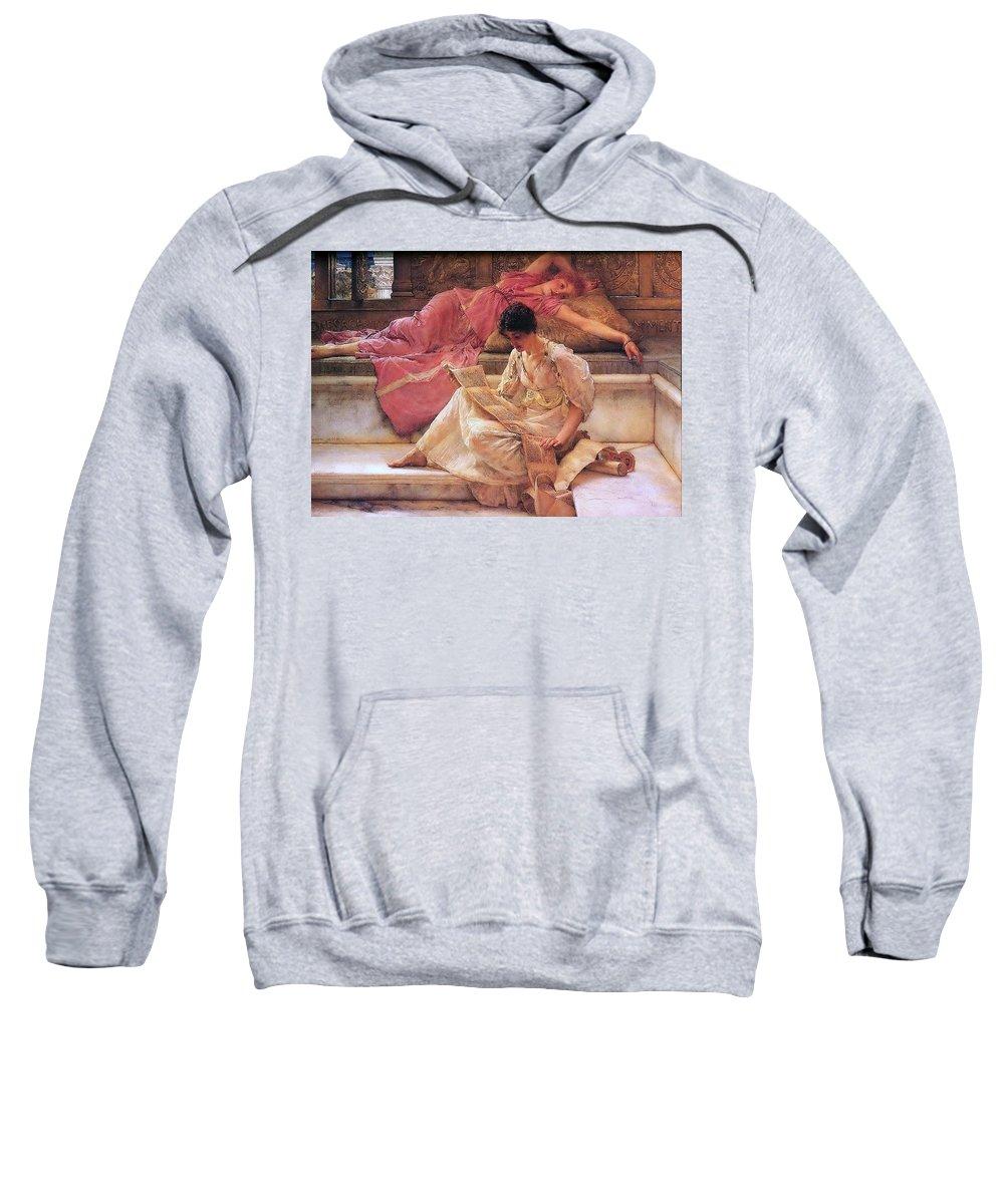 Attractive Sweatshirt featuring the digital art Favourite Poet Lawrence Alma-tadema by Eloisa Mannion